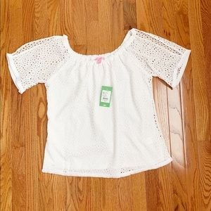 NWT- Lilly Pulitzer Lillette Top White Lace Blouse